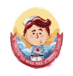 little brave sailor vector image