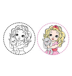 Little princess outlined for coloring book vector