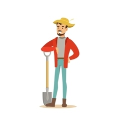 Man In Straw Hat Standing With Shovel Farmer vector image vector image