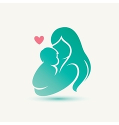 mother and baby stylized silhouette vector image