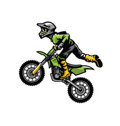 motocross rider doing stunt vector image vector image