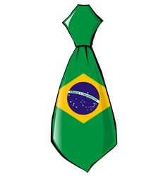 necktie in national colours of Brazil vector image vector image