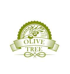 Olive tree branch with fruit and leaf label design vector