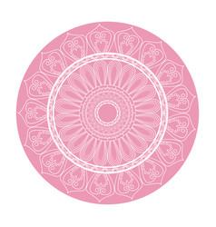 Pink mandala ornament round arabic culture design vector