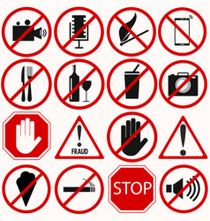red prohibition symbols set vector image