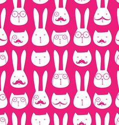 seamless pattern with cute rabbits and cats vector image vector image