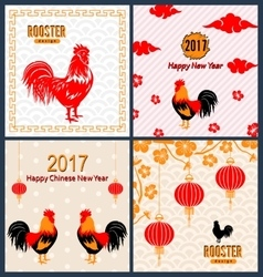 Set banners with chinese new year roosters vector
