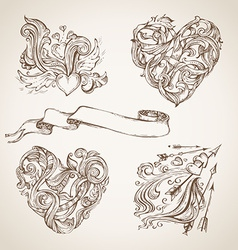 Set of romantic sketch design elements vector image vector image