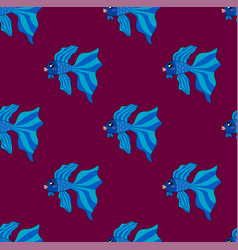 Siamese fighting fish on purple background vector