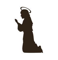 Silhouette virgin mary praying on knees vector