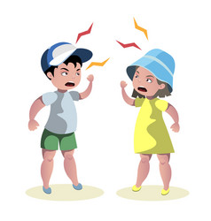 small angry kids quarrel vector image vector image