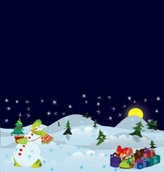 Snowman and Christmas tree in the pot banner vector image vector image