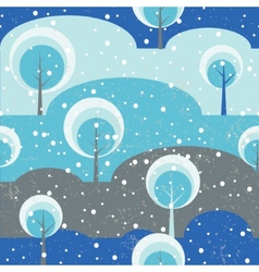 Winter forest trees on glade seamless pattern vector