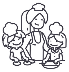 woman cooking with kids line icon sign vector image