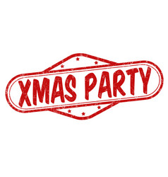 xmas party stamp vector image vector image