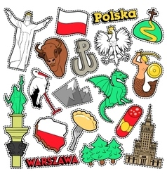 Poland travel scrapbook stickers patches badges vector