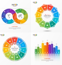 set of infographic templates with 11 options vector image