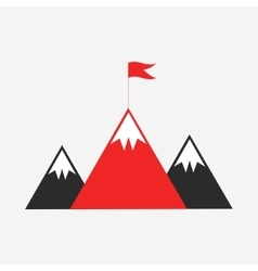 Mountain peaks with flag vector