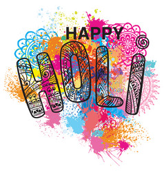 Happy holi on the colorful background vector