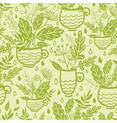 Green tea cups seamless pattern background vector
