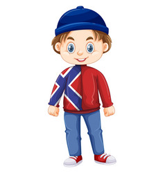 Boy from norway wearing hat and jacket vector