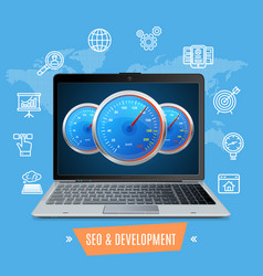 Site speed test concept seo and development vector