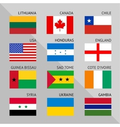Flags of world flat set number 01 vector