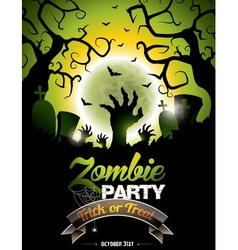 On a halloween zombie party theme vector