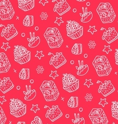 pattern of white cakes vector image