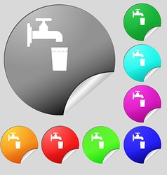 Faucet glass water icon sign set of eight multi vector