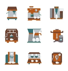 Flat color style icons for coffee equipment vector
