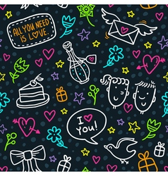 Seamless pattern with neon doodles of hearts vector