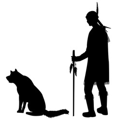Silhouettes of an american indian with his dog vector