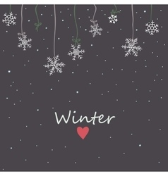 Snowflakes on night sky background vector