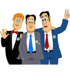 Three friends at a wedding vector