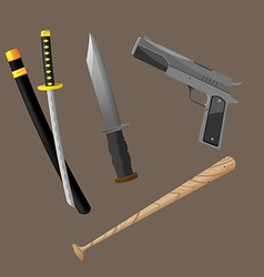 Weapon fight crime security set vector