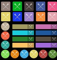 Lacrosse Sticks crossed icon sign Set from twenty vector image