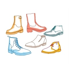 Colored line art boots with shading vector
