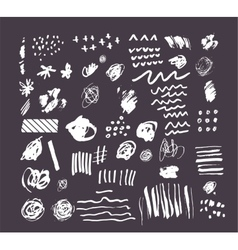 Hand drawn black shapes stains lines elements vector