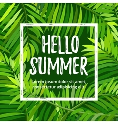 Summer party poster with palm leaf vector
