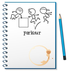 A notebook with a sketch of a parkour training at vector image vector image