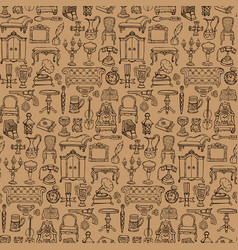 Antiques doodle seamless pattern vector