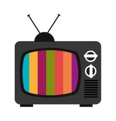 Black old tv with colorful stripes graphic vector