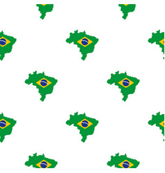 Brazil flag on brazilian map pattern seamless vector
