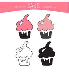 Cake set four sweets in black line and vector