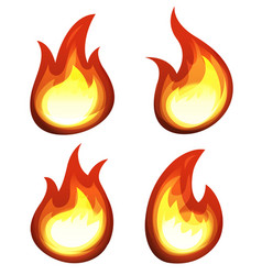 Cartoon fire and flames set vector