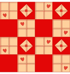 Chessboard beige red heart valentine background vector
