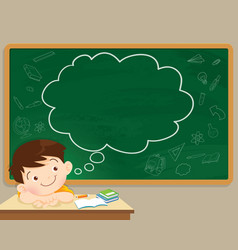 children boy thinking and chalkboard vector image