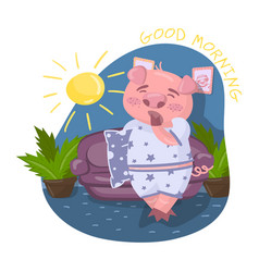 Cute pig character wearing pajamas yawning in vector