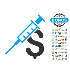 Drug business icon with 2017 year bonus pictograms vector
